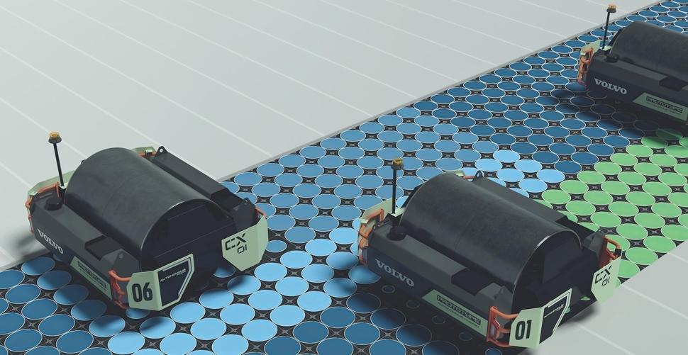 Volvo CX01 autonomous single-drum asphalt compactor concept